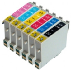 A set of pre-filled Epson Compatible T0487 dye sublimation ink cartridges.