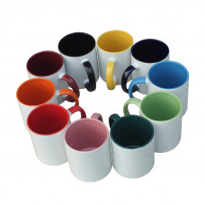 11oz Mug with Coloured Inner and Handle - Box of 36pcs