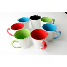 12oz White with Coloured InnerLatte Mug  - Box of 36pcs