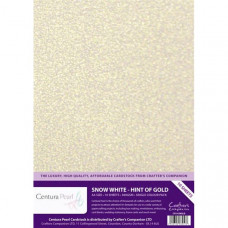 Centura Pearl, 10 Sheets of Snow White - Hint of Gold Single Side 300gsm Printable A4 Card