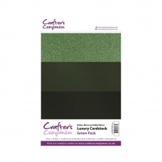 Luxury Mirror A4 Card Pack 250gsm in 3 mix of Green 30 sheet pack by Crafters Companion