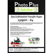 PhotoPlus A4 Dye Sublimation 130gsm Transfer Paper, 100 Sheets.