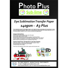 PhotoPlus A3 Plus Dye Sublimation 140gsm Double Sided Transfer Paper, 50 Sheets.