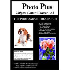 Photo Plus Printable Poly-Cotton Canvas A3 - 260gsm, 5 Sheets.