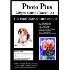 Photo Plus Printable Poly-Cotton Canvas A4 - 260gsm, 5 Sheets.