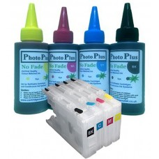 Brother Compatible LC1240 Dye Sublimation Refillable Cartridge Kit & 400ml Ink.