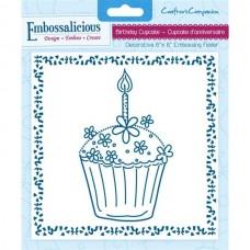 Embossalicious 6 x 6'' Embossing Folder - Birthday Cupcake.
