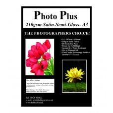 Photo Plus Photo Paper A3 Satin/Semi-Gloss 210gsm, 25 Sheet Pack