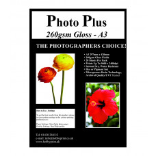 PhotoPlus Photo Paper A3 Premium Gloss 260gsm - 20 Sheet Pack