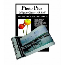 PhotoPlus Photo Paper A3 Panoramic Premium Gloss Rolls 260gsm, 297mm x 8m.