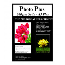 Photo Plus Photo Paper A3 Plus - 260gsm Premium Satin Coated, 20 Sheets.