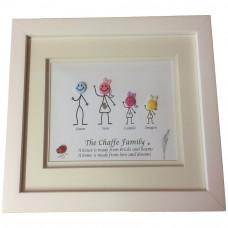 """Personalised Family Button Art Frame - 7"""" x 7"""""""" Frame"""